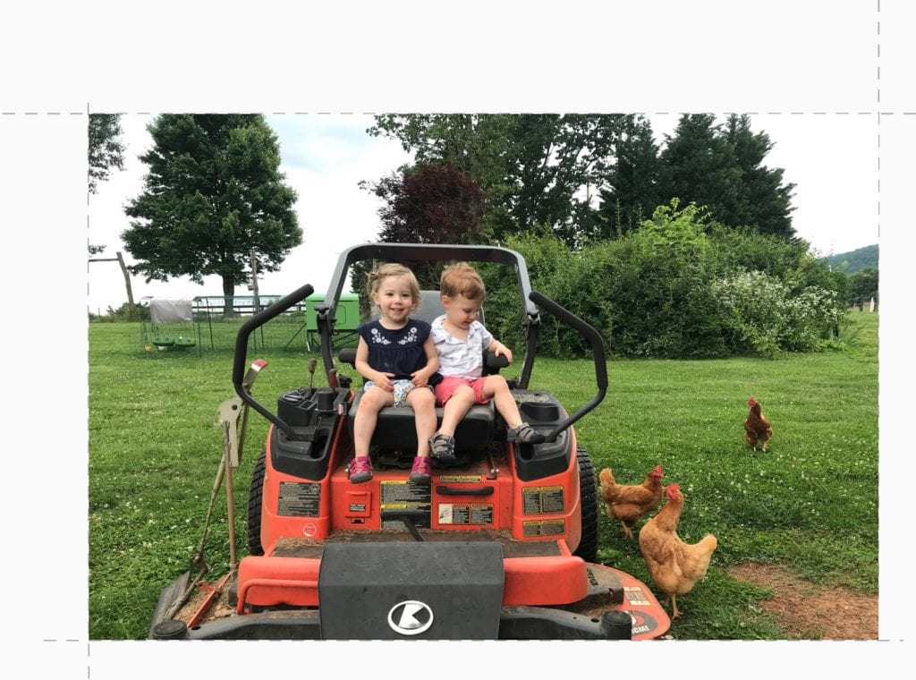 kids on a tractor at our Charlottesville vineyard